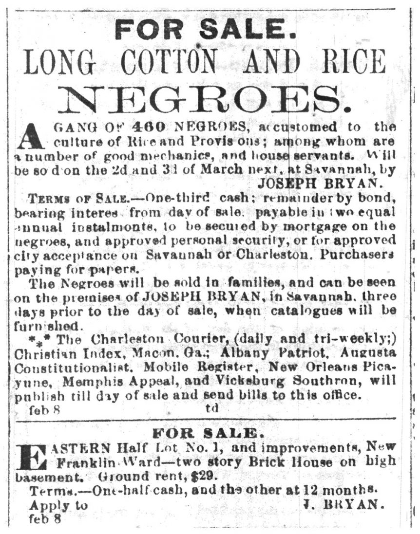 Slavery Sale Ad: February 8, 1859